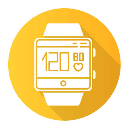 Blood pressure and heart rate tracking smartwatch function orange flat design long shadow glyph icon. Fitness wristband. Measurements and indicators of health. Vector silhouette illustration