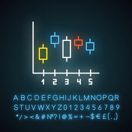 Candlestick chart neon light icon. Box plot graph. Business diagram. Data presentation and visualization. Glowing sign with alphabet, numbers and symbols. Vector isolated illustration