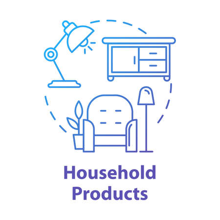Household products concept icon. Home appliances and furniture. Domestic items. Cozy dwelling. Comfortable living room idea thin line illustration. Vector isolated outline drawing