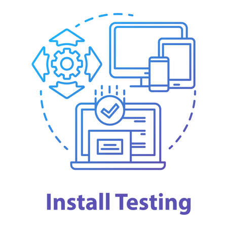 Install testing concept icon. Software programming stage idea thin line illustration. Application development. Implementation testing. IT project. App coding, Vector isolated outline drawing