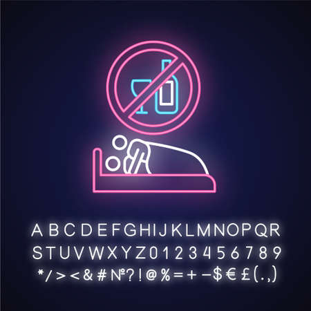 Sober sex neon light icon. Intimate relationship with male, female partner. No drinking, no alcohol for safe sex. Glowing sign with alphabet, numbers and symbols. Vector isolated illustration Imagens - 134835467