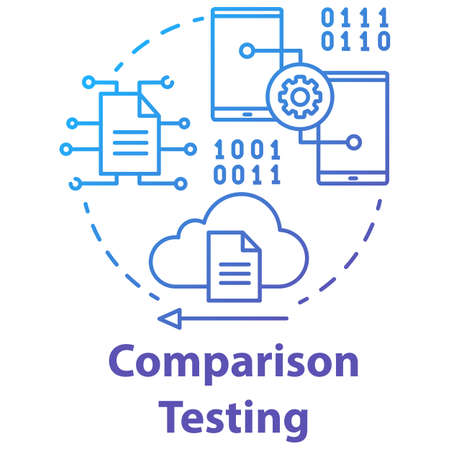 Comparison testing concept icon. Software development stage idea thin line illustration. Verify weakness and strength of IT project. App programming. Vector isolated outline drawing Illusztráció