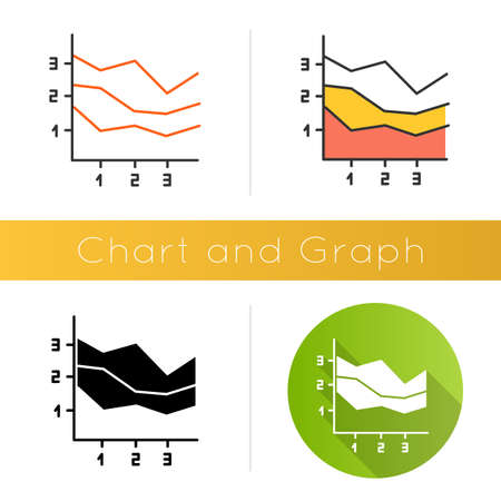 Area chart icon. Increasing graph with segments. Rising infographic. Marketing presentation. Business report visualization. Flat design, linear and color styles. Isolated vector illustrations