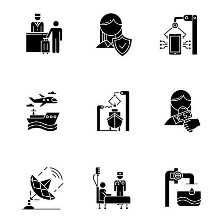 Industry types glyph icons set. Life insurance. Hospitality. Electronics production. Transport, shipbuilding. News, media. Healthcare. Steel industry. Silhouette symbols. Vector isolated illustration