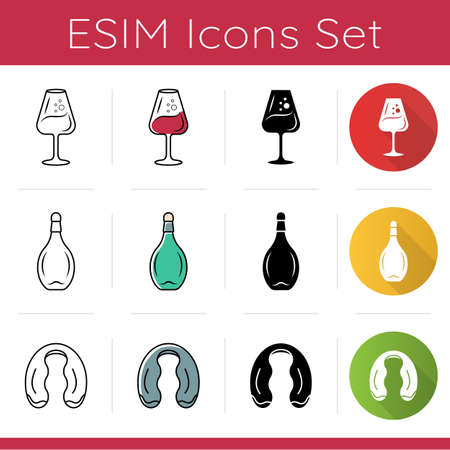 Wine glasses and bottles icons set. Aperitif glassware. Foil cutter. Sommelier and barman tools. Alcohol beverage. Flat design, linear, black and color styles. Isolated vector illustrations