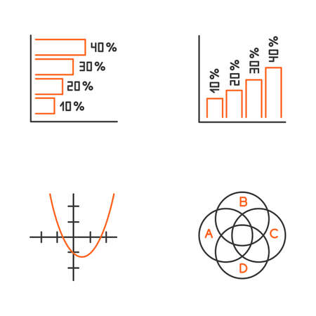 Chart and graph linear icons set. Histogram. Function curve. Venn diagram. Trigonometry study. Business. Thin line contour symbols. Isolated vector outline illustrations. Editable stroke 向量圖像