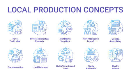 Local production concept icons set. Planning and launching small business. Commercial activity. Company management idea thin line illustrations. Vector isolated outline drawings