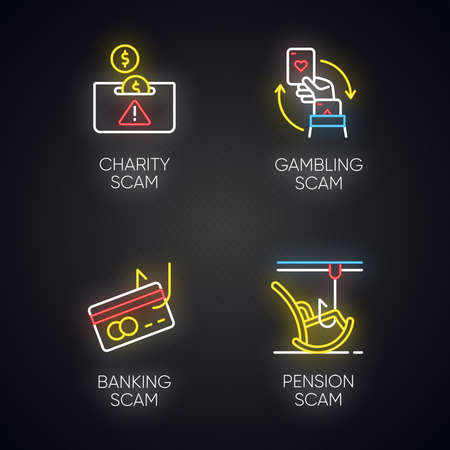 Scam types neon light icons set. Charity, pension fraudulent scheme. Gambling, banking trick. Cybercrime. Financial scamming. Illegal money gain. Glowing signs. Vector isolated illustrations