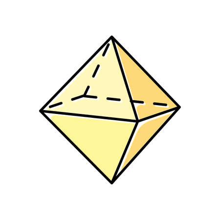 Icona di colore ottaedro. Doppia piramide. Figura dimensionale geometrica. Prisma a base quadrata. Modello tagliato con lati triangolari. Forma astratta. Forma isometrica. Illustrazione vettoriale isolato