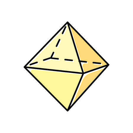Octahedron color icon. Double pyramid. Geometric dimensional figure. Square based prism. Cut model with triangular sides. Abstract shape. Isometric form. Isolated vector illustration