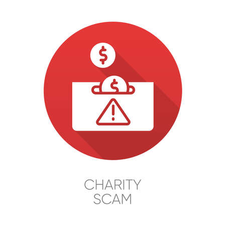 Charity scam red flat design long shadow glyph icon. Sham charity. Fake donation request. False fundraiser. Money theft. Online fraud. Cybercrime. Fraudulent scheme. Vector silhouette illustration