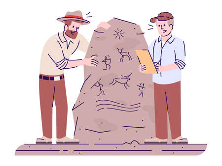 Study of ancient cave paintings flat vector illustration. Archaic civilization culture researching. Men analyzing drawing on stone isolated cartoon characters with outline elements on white background 向量圖像