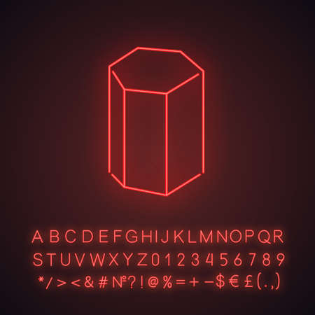 Hexagonal prism neon light icon. Geometric figure. Hexagon based element. Abstract shape. Isometric form. Glowing sign with alphabet, numbers and symbols. Vector isolated illustration Vektorové ilustrace