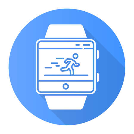 Fitness tracker running application blue flat design long shadow glyph icon. Smartwatch function and wellness service. Sport app. Speedometer and steps tracking. Vector silhouette illustration 向量圖像