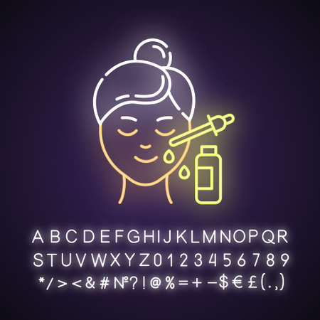 Using serum neon light icon. Skin care procedure. Lifting and exfoliating. Oil product for skin. Dermatology, cosmetics. Glowing sign with alphabet, numbers and symbols. Vector isolated illustration Ilustração