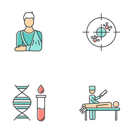Medical procedures color icons set. Orthopedic cast. Fractured bone aid. Immunotherapy. Genetic test. DNA helix and molecules. Autopsy diagnosis. Death cause examination. Isolated vector illustrations