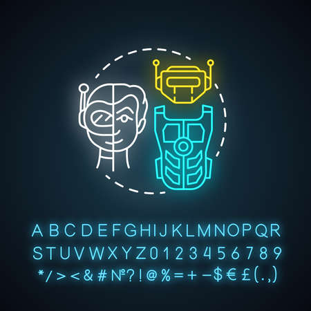 Battle robotics neon light concept icon. Transformers idea. Types of robots, classification. Computer machine combat, fighting. Glowing sign with alphabet, numbers. Vector isolated illustration