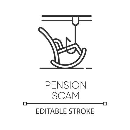 Pension scam linear icon. Retirement savings theft. Fake investment offer. Crime against elderly. Phishing. Thin line illustration. Contour symbol. Vector isolated outline drawing. Editable stroke Ilustrace