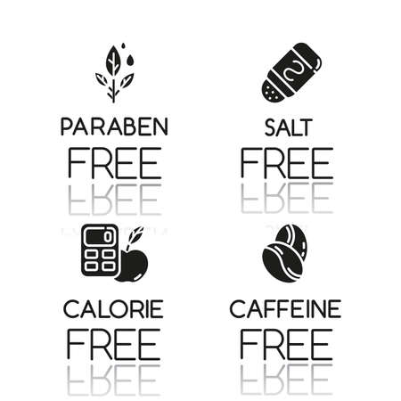 Product free ingredient drop shadow black glyph icons set. No paraben, salt, calorie, caffeine. Organic healthy food. Low calories meals. Dietary without allergens. Isolated vector illustrations