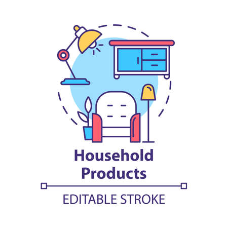 Household products concept icon. Home appliances and furniture. Domestic items. Cozy dwelling. Comfortable living room idea thin line illustration. Vector isolated outline drawing. Editable stroke Illusztráció