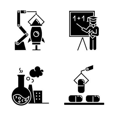 Industry types glyph icons set. Goods, services production. Aerospace, education, chemical and pharmaceutical sectors of economy. Research and science. Silhouette symbols. Vector isolated illustration 向量圖像