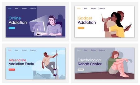 Addiction types landing page vector templates set. Psychological rehab center website interface idea with flat illustrations. Gadget addiction homepage layout. Web banner, webpage cartoon concept