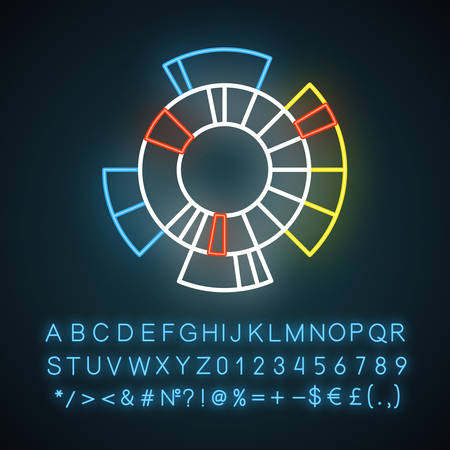 Sunburst diagram neon light icon. Radial chart. Round information graph. Hierarchy visualization. Business model. Glowing sign with alphabet, numbers and symbols. Vector isolated illustration Ilustração