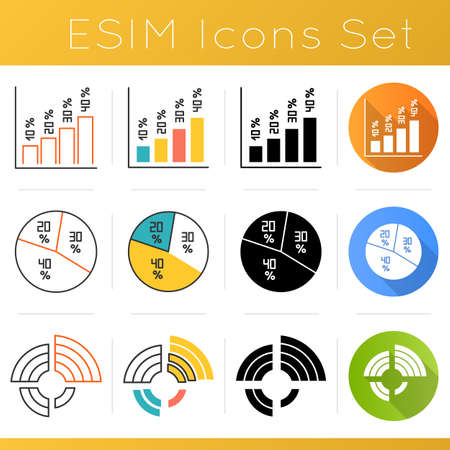 Chart and graph icons set. Vertical histogram with percentage rate. Pie diagram with segments. Radial chart for presentation. Flat design, linear, black and color styles. Isolated vector illustrations