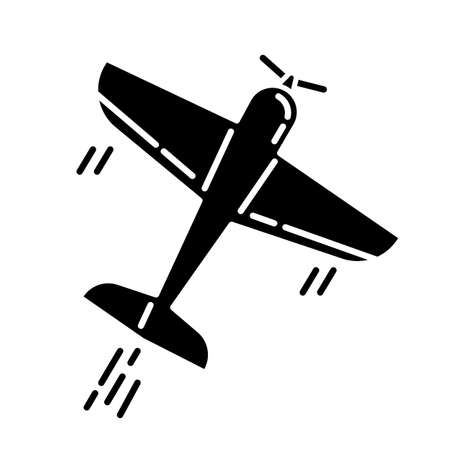 Aerobatics glyph icon. Aerobatic maneuvers and stunt flying. Airforce show with plane. Aviation, aircraft performance. Extreme airshow. Airplanes tricks Silhouette symbol. Vector isolated illustration  イラスト・ベクター素材