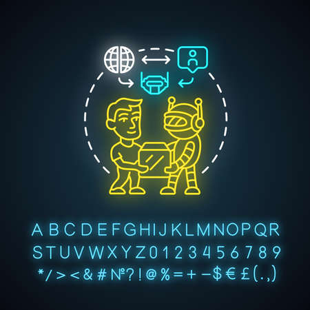 Future with robots neon light concept icon. Robotics in society idea. Interaction with innovative technologies. Contemporary delivery. Glowing sign with alphabet. Vector isolated illustration