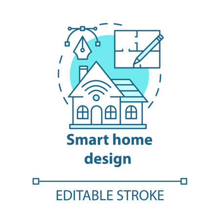 Smart home design turquoise concept icon. Modern house plan idea thin line illustration. Home with innovative systems. Contemporary homebuilding. Vector isolated outline drawing. Editable stroke Illusztráció