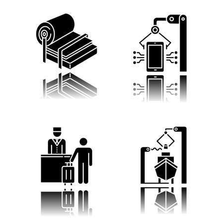 Industry types drop shadow black glyph icons set. Pulp and paper production. Electronics facility. Hospitality industry. Tourism. Shipbuilding. Dockyard, seaport. Isolated vector illustrations