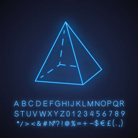 Pyramid neon light icon. Transparent geometric figure. Abstract shape. Isometric form with triangular sides. Glowing sign with alphabet, numbers and symbols. Vector isolated illustration Ilustração