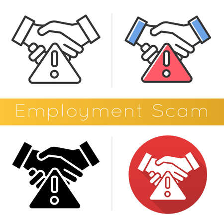 Employment scam icon. Illegitimate vacancy. Fake recruitement offer. False job opportunity. Upfront payment. Financial fraud. Flat design, linear and color styles. Isolated vector illustrations