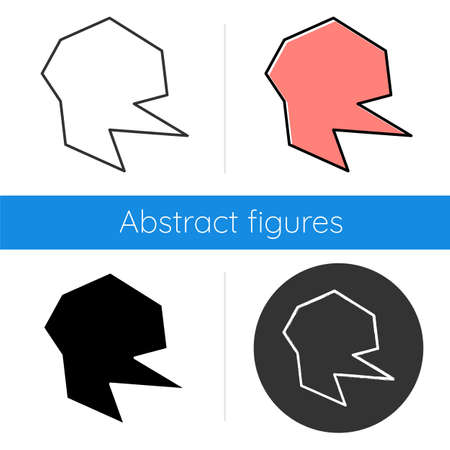 Geometric figure icon. Decorative element with cut edges. Abstract shape. Isometric form. Broken fractal. Spot with sharp corners. Flat design, linear and color styles. Isolated vector illustrations