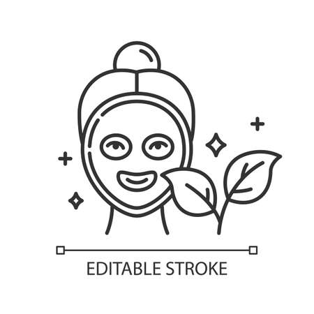 Face mask linear icon. Skincare routine. Beauty product. Facial healing treatment. Organic cosmetics. Thin line illustration. Contour symbol. Vector isolated outline drawing. Editable stroke