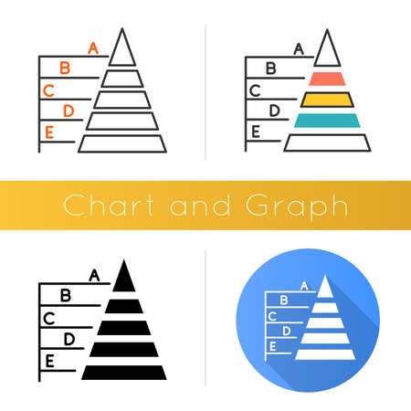 Pyramid graph icon. Information hierarchy chart. Business model visualization. Economic presentation. Financial report and research. Flat design, linear and color styles. Isolated vector illustrations
