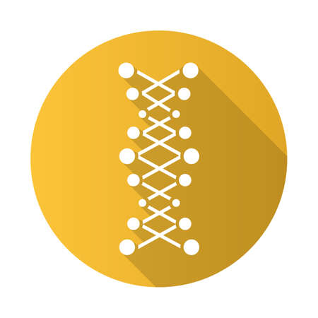 DNA double helix yellow flat design long shadow glyph icon. Connected dots, lines. Deoxyribonucleic, nucleic acid. Chromosome. Molecular biology. Genetic code. Genetics. Vector silhouette illustration