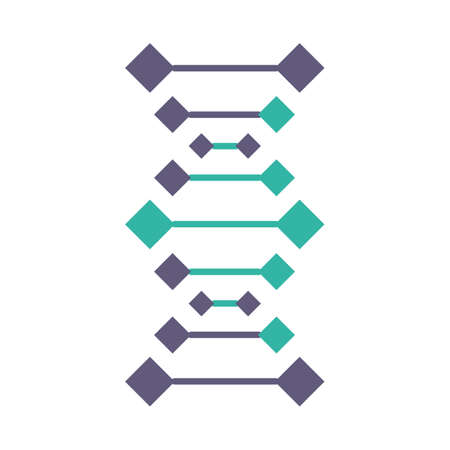 DNA chains violet and turquoise color icon. Deoxyribonucleic, nucleic acid helix. Spiraling strands. Chromosome. Molecular biology. Genetic code. Genome. Genetics. Isolated vector illustration Illustration