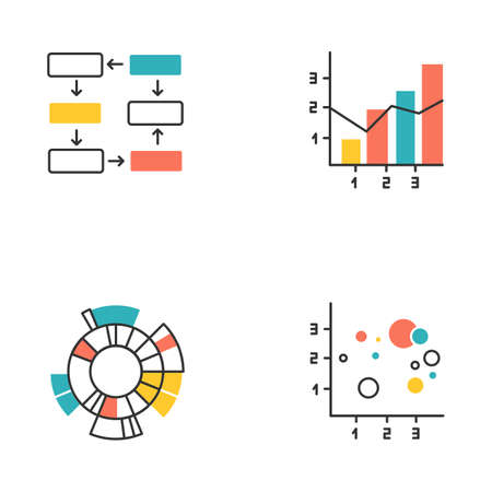 Chart and graph color icons set. Data connection and wiring. Process steps, progress stages. Mixed chart. Sunburst radial diagram. Scatter bubble chart. Business. Isolated vector illustrations