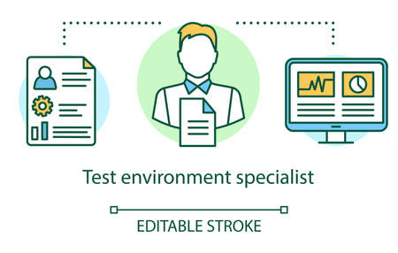 Test environment specialist concept icon. IT employee idea thin line illustration. Software testing process. Indicating issues and problems. Vector isolated outline drawing. Editable stroke Illusztráció