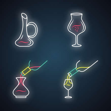 Wine service neon light icons set. Alcohol beverage pouring in glass. Wineglasses, decanters. Different types of aperitif drinks. Barman. Glowing signs. Vector isolated illustrations