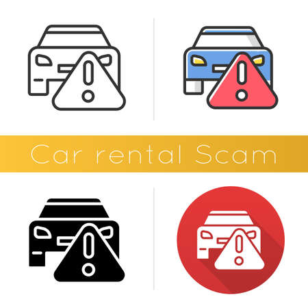 Car rental scam icon. Low upfront payment. Fake insurance fee. Illegitimate vehicle hire deal. Cybercrime. Financial fraud. Flat design, linear and color styles. Isolated vector illustrations