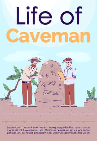 Life of caveman brochure template. Flyer, booklet, leaflet concept with flat illustrations. Vector page cartoon layout for magazine. Study of cave paintings advertising invitation with text space