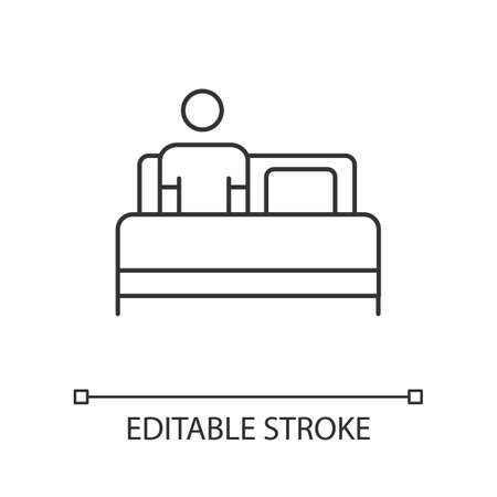 Bed rest linear icon. Tired man under blanket. Common cold aid. Leisure and comfort. Bedroom. Thin line illustration. Contour symbol. Vector isolated outline drawing. Editable stroke