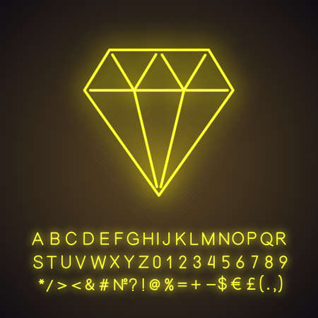 Diamond neon light icon. Crystal. Decorative brilliant. Jewelry element. Geometric figure. Abstract shape. Isometric form. Glowing sign with alphabet, numbers and symbols. Vector isolated illustration
