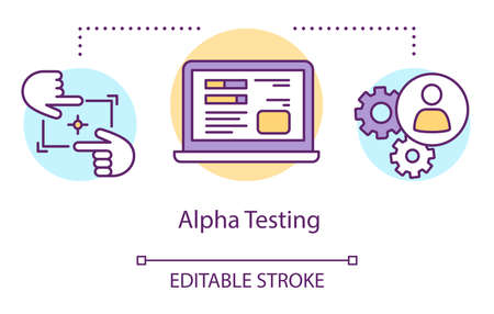 Alpha testing concept icon. Intentifying bugs before release thin line illustration. Software testing process. Indicating issues and problems. Vector isolated outline drawing. Editable stroke Illusztráció