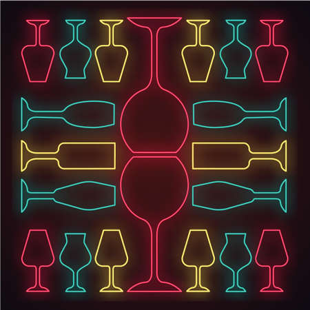 Glassware neon light icon. Restaurant service. Alcohol bar. Port and madeira glasses. Wineglasses. Strong drinks. Glowing sign with alphabet, numbers and symbols. Vector isolated illustration