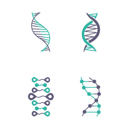 DNA strands violet and turquoise color icons set. Deoxyribonucleic, nucleic acid helix. Spiraling strands. Chromosome. Molecular biology. Genetic code. Genome. Genetics. Isolated vector illustrations