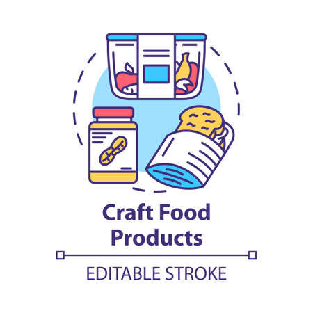 Craft food products concept icon. Crispbread, peanut butter, fruits. Vegetarian diet. Artisanal food. Healthy meal idea thin line illustration. Vector isolated outline drawing. Editable stroke